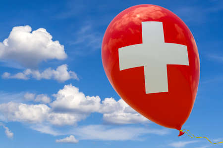 Inflatable balloon with the image of the national flag of Switzerland, flying through the blue sky. 3D rendering, illustration with copy space. Banque d'images