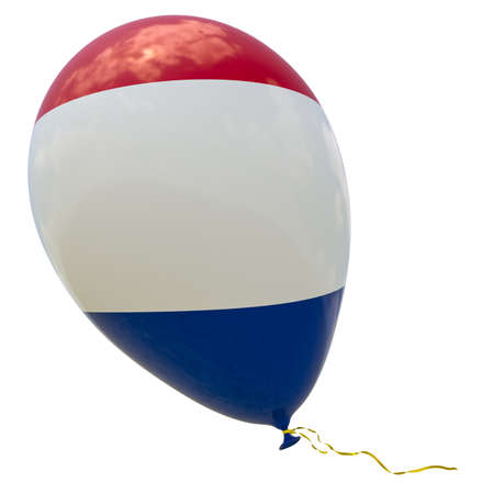 Balloon with the image of the national flag of France. 3D rendering, illustration isolated on white.