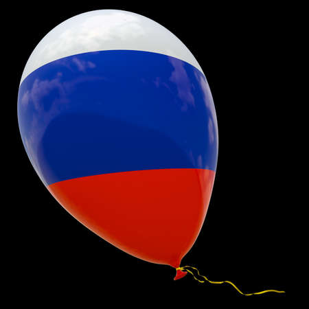 Balloon with the image of the national flag of Russia. 3D rendering, illustration isolated on black. Reklamní fotografie