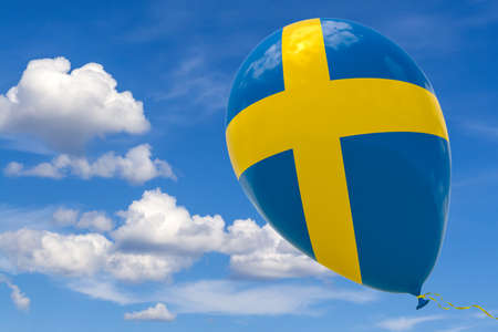 Inflatable balloon with the image of the national flag of Sweden, flying through the blue sky. 3D rendering, illustration with copy space.