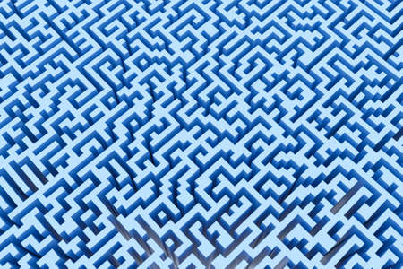 The texture of the three-dimensional model of the maze in blue, perspective view. Three-dimensional labyrinth. 3D visualization, illustrations.