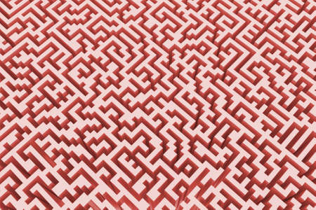 The texture of the three-dimensional model of the maze in pink, perspective view. Three-dimensional labyrinth. 3D visualization, illustrations. Stock Photo