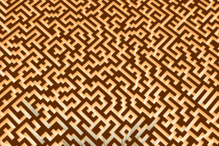 The texture of the three-dimensional model of the glowing maze, perspective view. Three-dimensional labyrinth. 3D visualization, illustrations.
