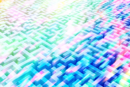 The texture of the three-dimensional model of the maze in psychedelic colors, perspective view to infinity. Three-dimensional labyrinth. 3D visualization, illustrations. Stock Illustration - 118758339