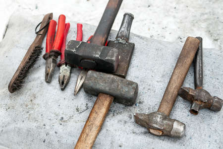 Blacksmith tools. Tools for manual forging metal.