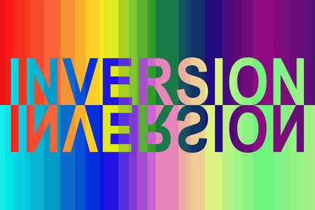 On the rainbow spectral background, the inscription in English - INVERSION filled with the inverse spectrum and its reflection.
