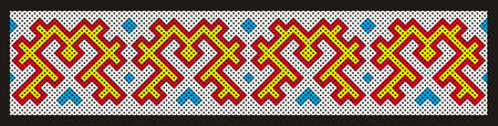 Element of traditional ornament for decoration of clothes of the peoples of the Far North of Russia. Ornament of Khanty and Mansi. Illustration isolated on black.
