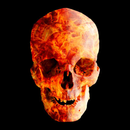 Human skull in flame on dark background, isolated on black.