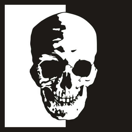 The human skull, terrible head of evil, on a white and black background. Illustration isolated on white and black.