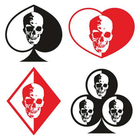 Simboli di carte da gioco con l'immagine di un teschio umano. Illustrazione isolata su bianco.