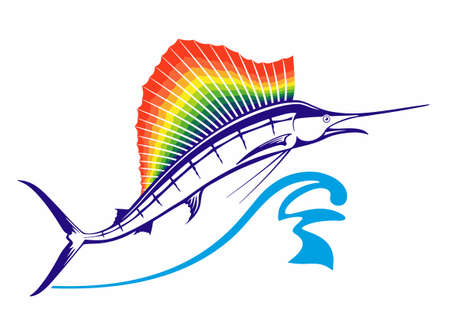Big Marlin's jump. From the water jumps Marlin or swordfish with rainbow dorsal fin. Fin in rainbow colors. Vector illustration isolated on white, logo or emblem design.