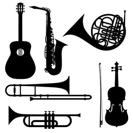 Silhouettes of musical instruments - guitar, saxophone, french horn, trombone, trumpet and violin. Illustration isolated on white.