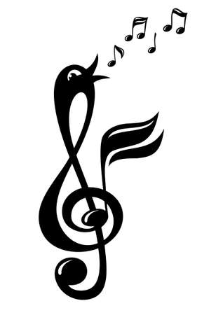 Treble clef in the form of a cheerful singing bird. Decorative element on a musical theme. Treble clef like a bird. Illustration isolated on white. 向量圖像