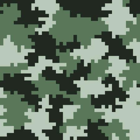 Khaki  pixel seamless camo pattern. Khaki hunting or military camouflage. Illustration. Ilustração
