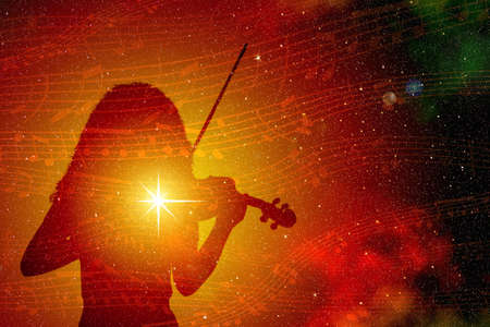 Silhouette of a girl with a shining star playing the violin, against the backdrop of colorful outer space with musical notes. Illustration.