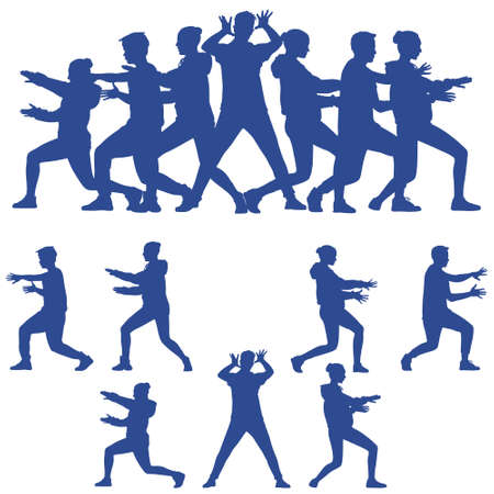 Dark blue silhouettes of teenagers dancing modern dance in different poses and emotion. A group of happy teenagers are dancing and having fun. Dance is life. Vector illustration isolated on white.