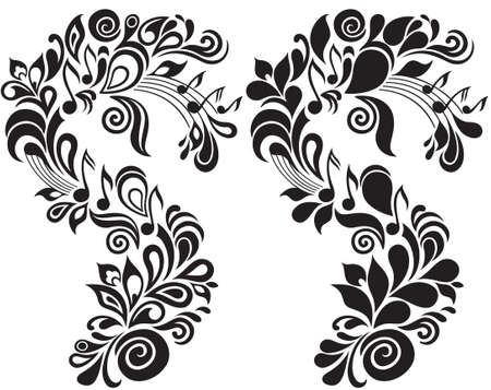 Two b w decorative vector musical floral illustrations