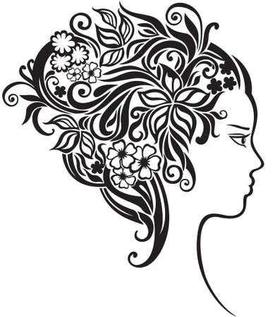 elegant line art of a girl with a flowers in her hair 矢量图像