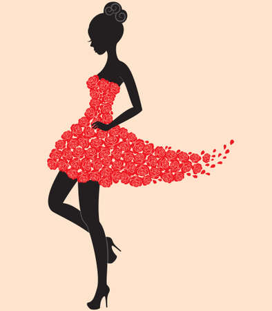 girl in red dress: Young beautiful dancer girl in dress of roses Stock Photo