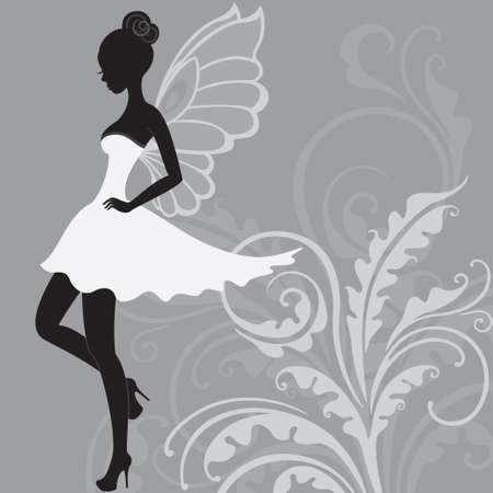 Silhouette of young beautiful fairy in white dress Stock Photo - 13876138