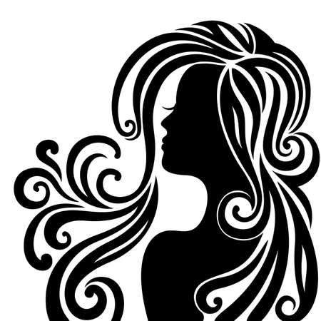 Elegant line art of a beautiful young woman