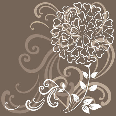 illustrate: Vector illustration of a flower on the brown background