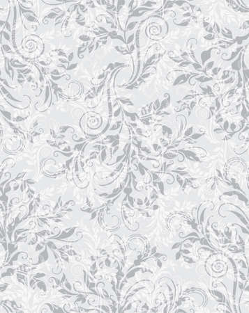 Elegant decorative floral seamless pattern on the grey background 矢量图像