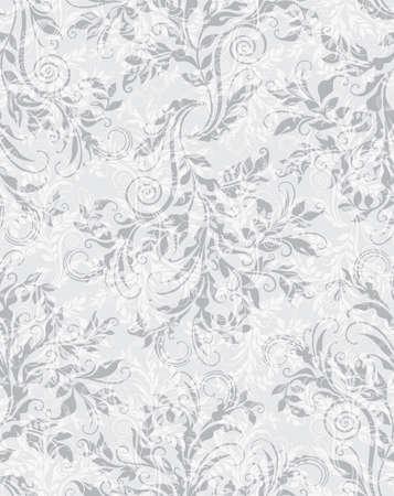 Elegant decorative floral seamless pattern on the grey background Illustration
