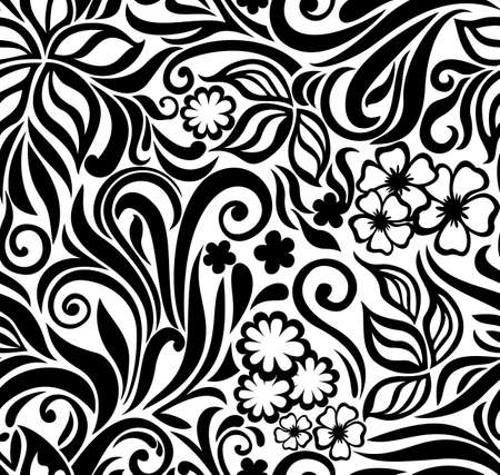 Decorative graphic curly seamless background with flowers and leaves Vector