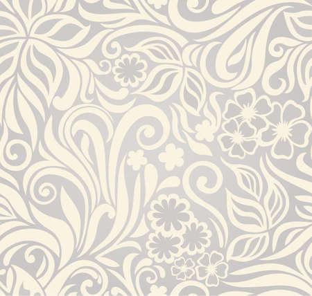 beige stof: Decoratieve grafische krullend naadloze achtergrond met bloemen en bladeren
