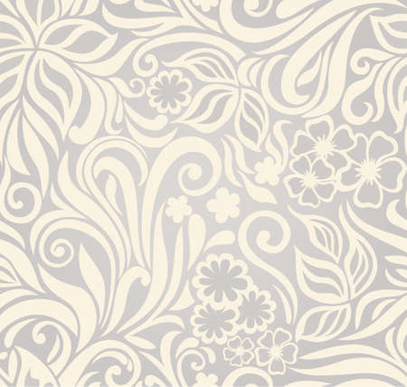 Decorative graphic curly seamless background with flowers and leaves