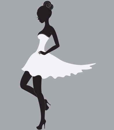 Young beautiful dancer girl in white dress Stock Vector - 14193129