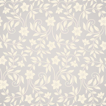 ecru: Beautiful seamless curly floral background with flowers and leaves
