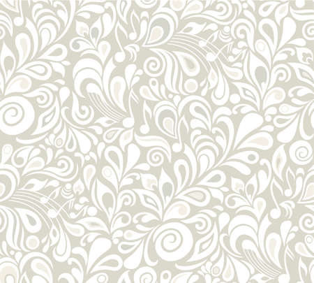 Decorative musical floral seamless background with notes and leaves Vector