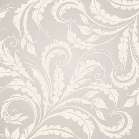 beige backgrounds: Beautiful floral background with plants and leaves Illustration