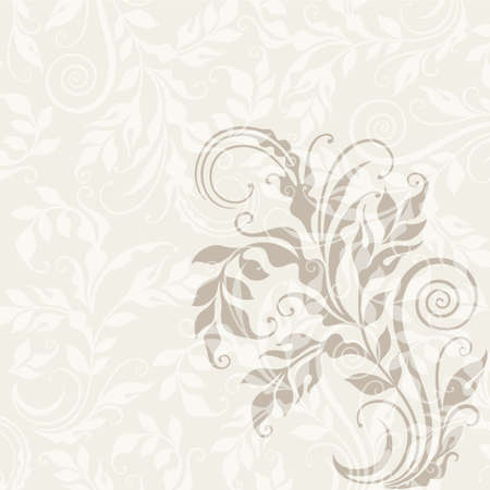ecru: Curly decorative floral illustration on the beige background