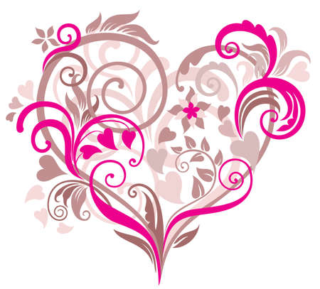 pink wedding: Beautiful floral background with heart in pastel tones Illustration