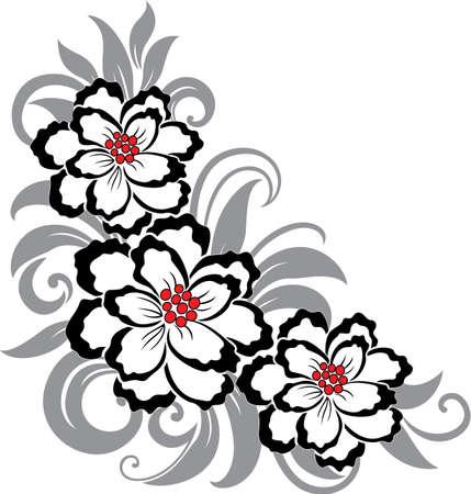 Bellissimo sfondo decorativo floreale con fiori e foglie Vettoriali