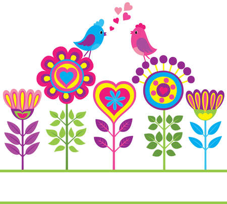 funny love: Decorative colorful funny background with flowers and birds