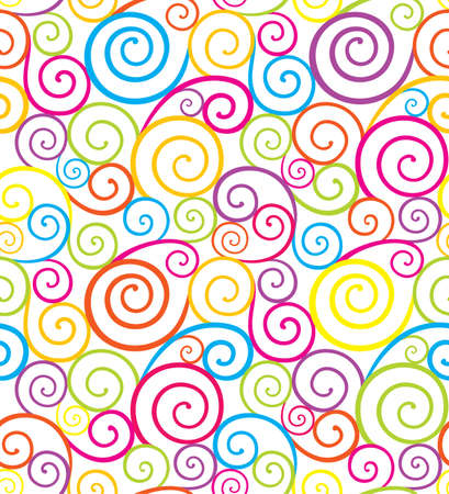 scroll shape: Abstract colorful swirl seamless composition made of spirals