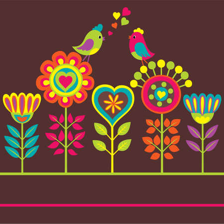 Bright colorful funny composition with flowers and birds