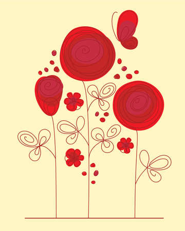 Decorative background with abstract hand drawn flowers and butterfly Vector