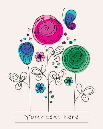 birthday flowers: Funny colorful illustration with abstract flowers and butterfly