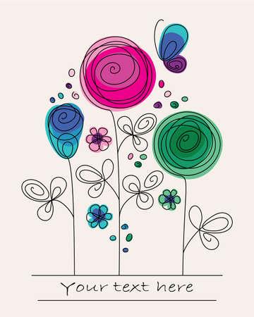 flores de cumpleaños: Ilustración divertida de colores con flores abstractas y la mariposa
