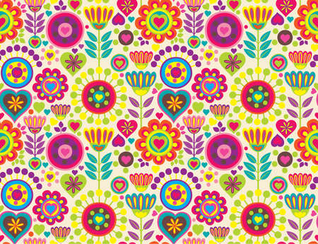 Bright colorful funny vector seamless pattern with flowers