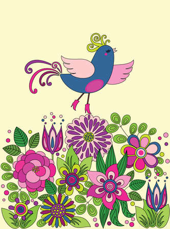 funny pictures: Decorative colorful funny vector drawing with bird on the flowers Illustration