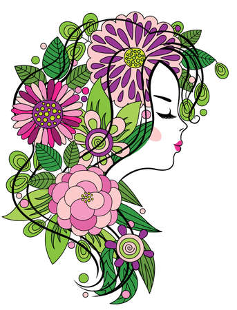 yellow hair: Elegant line art of a beautiful girl with colorful flowers in her hair Illustration