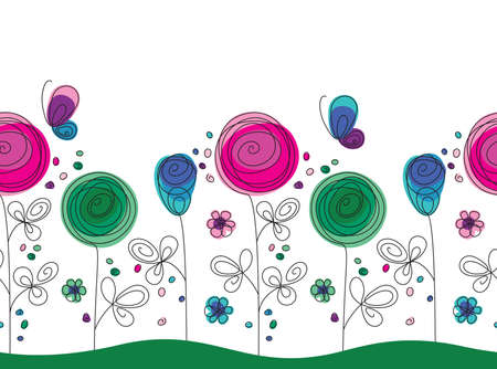 Artistic colorful seamless pattern with had drawn flowers and butterflies