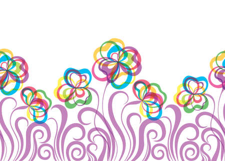 inkle: Colorful decorative seamless pattern with abstract hand drawn flowers