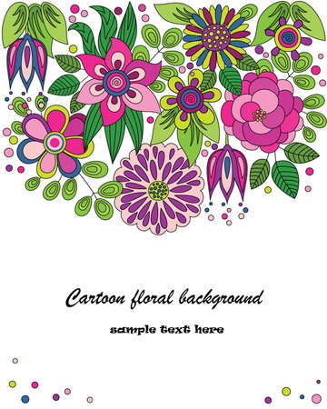 Decorative colorful cartoon background drawing with flowers Vector